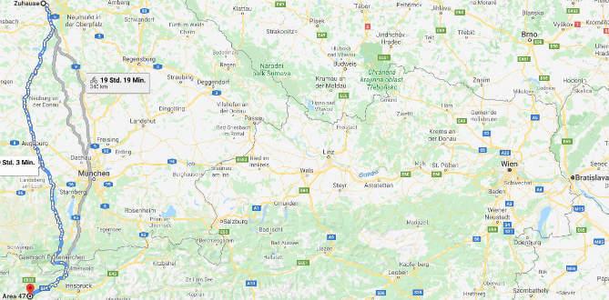 Landkarte mit eingezeichneter Route