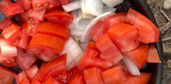 frische Tomaten, kleingehackt mit Zwiebeln in einer Pfanne